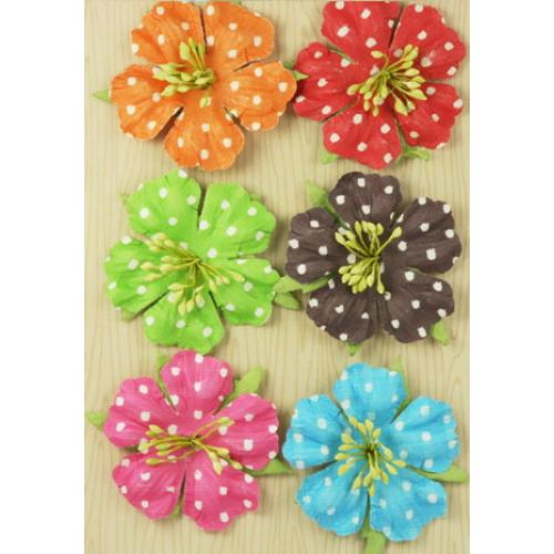 Flowers - Polka Dot Bright with Leaves